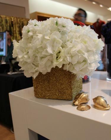 Decor, Gilded Gold shells, Glitter vases, Gold vases, White Hydrangeas, White Stock, Lisanthus, White Lisanthus, Posh Floral Designs, Jumbo Hydrangeas,