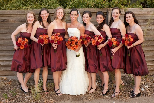 Rustic Wedding, Summer Weddings, Cranberry bridesmaids dress, Favorite bridesmaids dresses, Angie Strange, Posh Floral Designs, The Village Church Dallas TX, City Place Dallas Tx, Money Tail, Coffee Break Roses, Freedom Roses, Hypericum Berries, Churches in Dallas, Best florist in Dallas, Great venues in Dallas, Cityplace, David's Bridal, Rachel DeBell Photography, Wedding Photography in Dallas, Wedding Reception Ideas, Candles and petals, Orange Red and Brown Wedding Colors,
