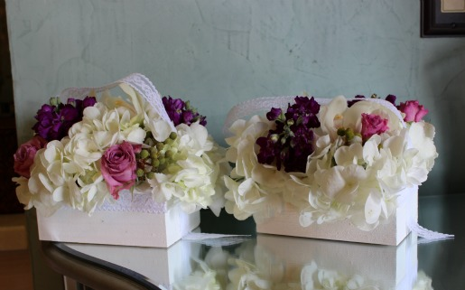 New ideas for flowergirls, Flowergirl Boxes with handles, Posh Floral Designs, Bella Donna Chapel, Stonbridge Country Club, White Hydrangeas, Purple Spray Roses, Green Brunia Berries, Purple Stock Posh Floral Designs