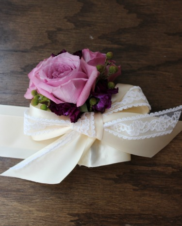 Ribbon Wrist Corsage, Lace Wrist Corsage, Purple Spray Roses, Purple Stock, Green Brunia Berries, Angie Strange, Posh Floral Designs, Bella Donna Chapel, Stonebridge Country Club