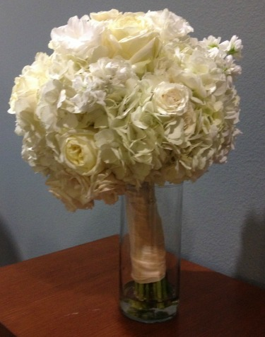 Bridal Bouquet, White hydrangeas, White Stock, Polo Roses, White Lisanthus, White Roses, New Ideas for a bridal bouquet, Beautiful Bridal Bouquets, Posh Floral Designs, Ivory weddings, Lovers Lane United Methodist, Dallas Tx weddings,
