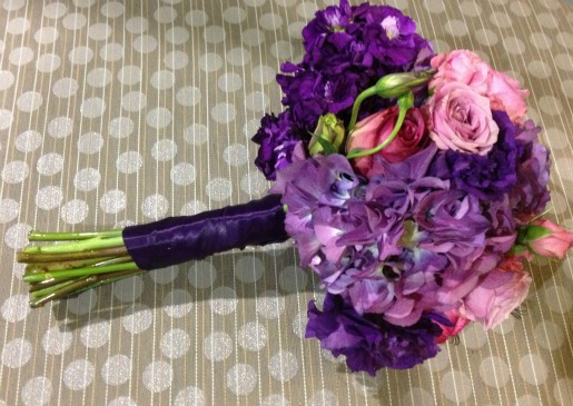 Bridesmaid's bouquets, Purple Hydrangeas, Cool Water Roses, Purple Lisanthus, Angie Stange, Posh Floral Designs, Beautiful Bridesmaids Bouquets, Ideas for bridesmaids bouquets, beautiful bouquets,