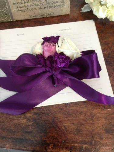 Ribbon Wrist Corsages, New ideas for Wrist corsages, Purple Weddings, White and Purple Flowers, Posh Floral Designs, Angie Strange