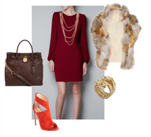 What to wear for fall, Fur Vest, Michael Kors, Aldo Shoes, John Hardy, Barneys, Orange Suede shoes, Zara Dress