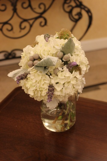 White hydrangeas, brunia berries, Lanvender in bouquets, dusty miller, toss bouquet, posh floral designs, mason jars for weddings, prestonwood faith chapel