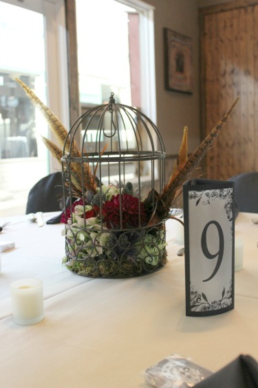 Birdcages and Flowers, Feathers in Arrangements, Western Wedding, Country Weddings, Ft Worth, Stockman's Club, Ft Worth Stockyards, Angie Strange, Posh Floral Designs, Antique Hydrangeas, Red and Burgundy Dahlias