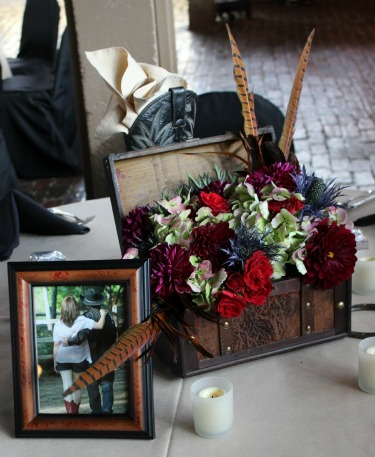 Antique boxes for flowers, Western Wedding, Country Wedding, Feathers in Flowers, Creative centerpieces, Stockman's Club, Ft Worth Stockyards, Posh Floral Designs, Angie Strange, Red Dahilas, Burgundy Dahlias, Antique Hydrangeas, Red Spray Roses, Blue Thistle, Pheasant Feathers in arrangements