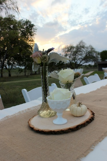 Antique jars centerpieces, wood pieces on centerpieces, mini white pumpkins, Amnesia Rose, Purple and Gray wedding, Milkglass Vases, Polo Roses, Sunset pictures, Austin Ranch House, Milkglass, Dusty Miller, Brunia Berries, Posh Floral Designs
