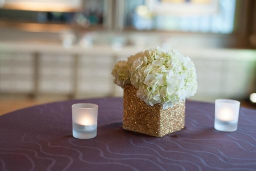 Cocktail Tabe Decor, Posh Floral Designs, Angie Strange, Giltter Vases, White Hydrangeas, cocktail table decor, Omni Dallas, Thursday Therapy