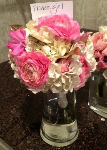 Pink Sweet Peas, Pink Ranuculus, Pink Parrot tulips, Gilded leaves, gold leaves, white hydrangeas, flower girl ideas, flower girl bouquets, new ideas for flower girls, angie strange, posh floral designs,
