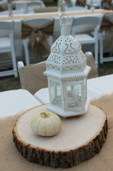 Lantern centerpieces, Lanterns, White Lantern, Ideas for centerpieces, Rustic Lanterns, Wedding lanterns, Pumpkin centerpieces, Burlap Table Runners, Posh Floral Designs, Ranch House,