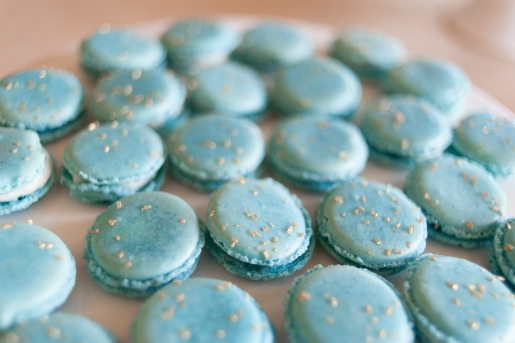 Macarons, Layered Bake Shop, McKinney Bakery, Wedding Cakes in Dallas, Shannon Star, Creative Wedding Cakes, Creative Desserts, Matt and Julie Weddings, Thursday Therapy Dallas, Omni Hotel Dallas, blue and gold macarons,