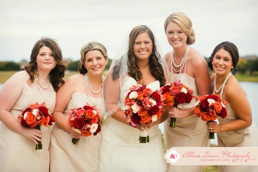 Champagne Bridesmaids Dresses, Fall Wedding, Allison Davis Photography, Fall Bouquets, Red Orange Burgundy Flowers, Posh Floral Designs