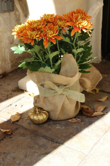 Golden Mums, Burlap, Burlap and Flowers, DylanClarie.com, Posh Floral Designs