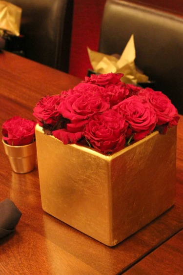 Red and Gold Centerpieces, Red Roses, Red Centerpieces, Gold vessels, Gold Vases, Posh Floral Designs,