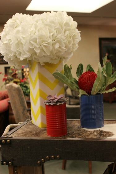 Succulents and flowers, Chevron Vase, Soup cans as vases, Baby Shower Ideas, Posh Floral Designs