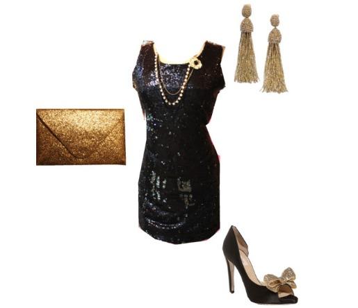The Dandy Lion Boutique, Little Black Dress, Sequine Dress, Oscar de La Renta, Valentino, Black and Gold Outfits