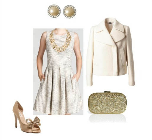 what to wear to a holiday party, what to wear to a NYE Party, Posh Floral Designs, Banana Republic, Valentino, Blooming Dale, Shoshanna, White coat, Posh Floral Designs