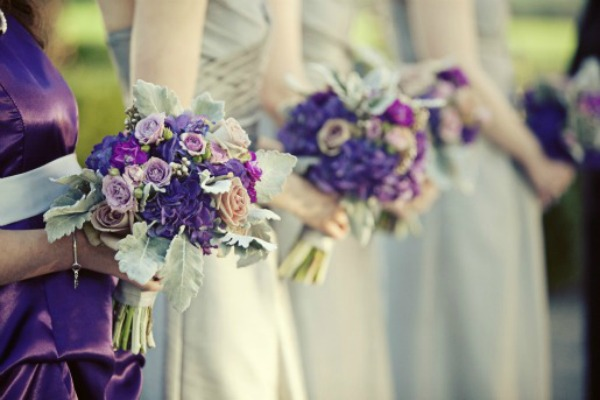 Outdoor Weddings, Vintage Wedding, Classic Wedding, Purple Hydrangeas, Purple and Silver, Posh Floral Designs,