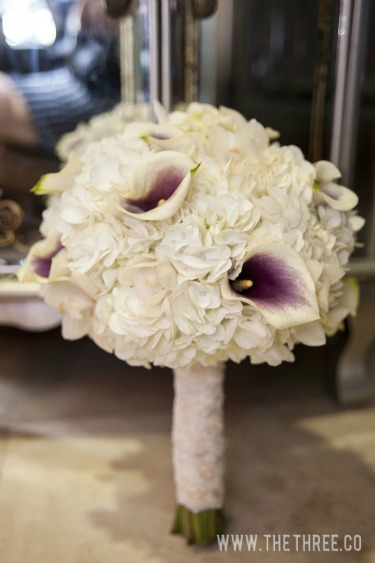 White Hydrangea and Calla Lily Bouquet, Posh Floral Designs, The Three Photography, Purple and White Calla Lilies, Vintage Bridal Bouquet