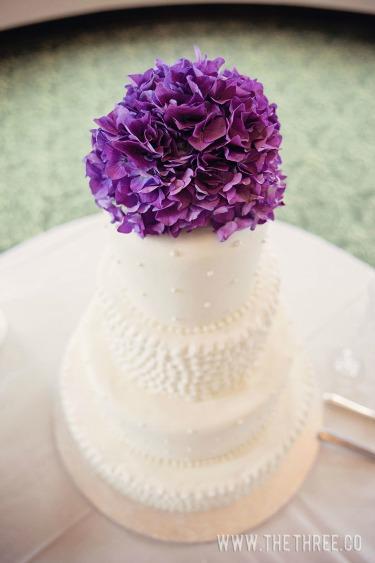 Ideas for Wedding Cakes, White Cakes, Flowers on Cakes, Purple Hydrangeas for Weddings,