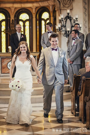 Bride and Groom Pictures, Vintage Bridal Gown, Gray and Purple Wedding