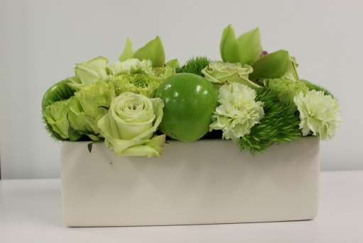 Mixed Green Decor, Green Centerpieces, Green Apple Centerpieces,