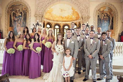 Wedding Party, Flower girl ideas, Purple and Green Wedding Flowers, Gray Suits