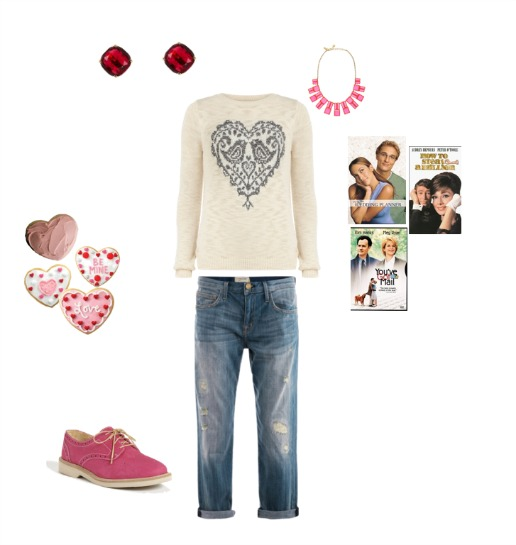 Kate Spade, Heart Sugar Cookies, What to wear for Valentines, Pink Flats, Heart Sweat, boyfriend jeans, Favorite Valentine Movies