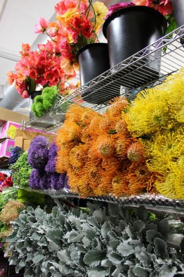 Pin Cushion Flower, Poppy, Gray Leaves, Dusty Miller Leaves, Dianthus, Flower Market, New York Flower Market