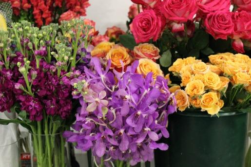 Clematis, Dianthus, Fringe Tulips, Geranium Leaves, Vibriunium, Cascading Bouquet, Chapel Designers