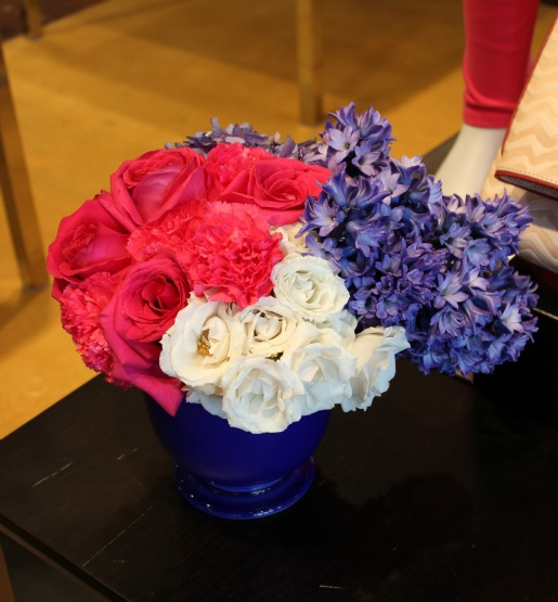 Pink Roses, Hot Pink Carnations, White Spray Roses, Blue and Pink Centerpieces, Blue Hyacinth, Last Call Studios Events,