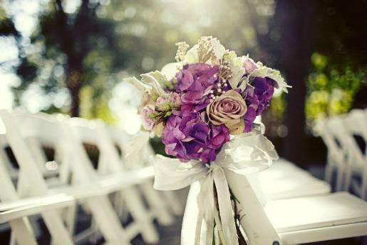 Marie Gabrielle, Purple Floral Decor, Purple Aisle Decor, Posh Floral Designs,