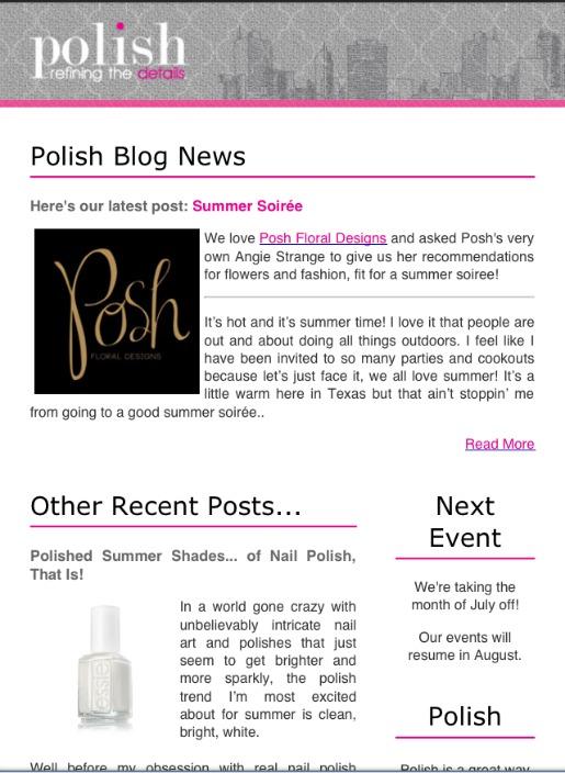 Polish Ministries, Women's Networking Dallas, Posh Floral Designs, Guest Blogger, Dallas Blogger
