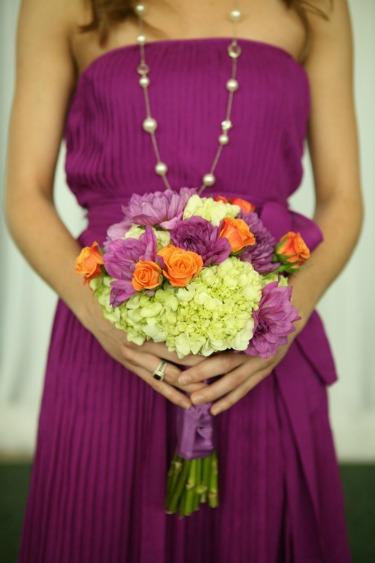 Lime Green Hydrangeas, Purple Dahilas, Orange Roses, Bright Flower Bouquet, Bright Bouquets, Purple Bridesmaids Dresses, Jcrew Dresses, JCrew Wedding