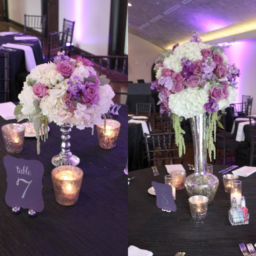 Purple Weddings, Chapel at Ana Villa, Vintage wedding, mercury glass centerpeices, winery wedding, wine cellar wedding, posh floral designs