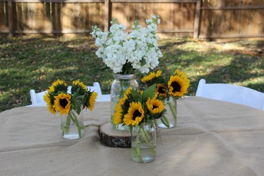 Bonton Honey, North Dallas Honey, Launch Party, Outdoor Party Decor, Sunflowers, Posh Floral Designs