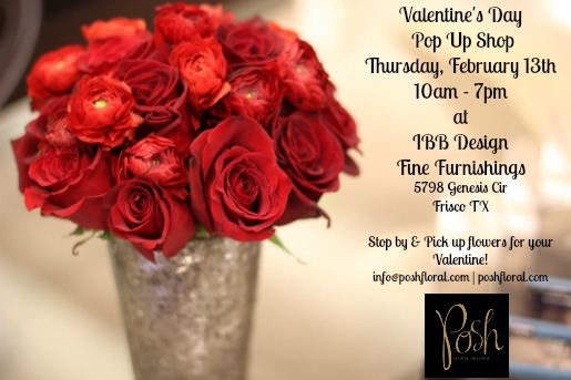 Valentines Day Pop Up Shop, Pop up Flower Shops, IBB DESIGNS, Order Valentine's Flowers, Red Flowers, all red arrangements, Posh Floral Designs