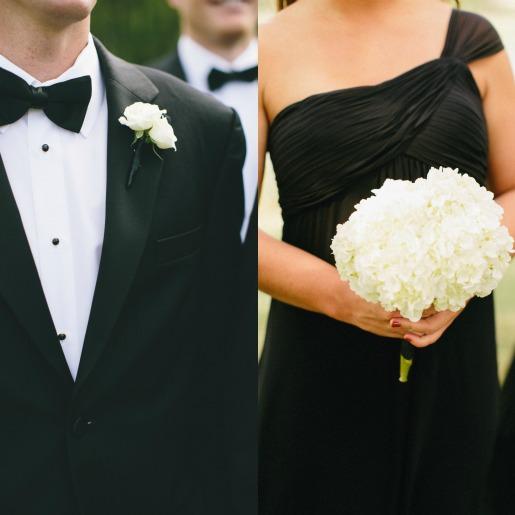 White Hydrangea Bouquet, black bridesmaids dresses, Posh Floral Designs, Groomsmen Tuxedos