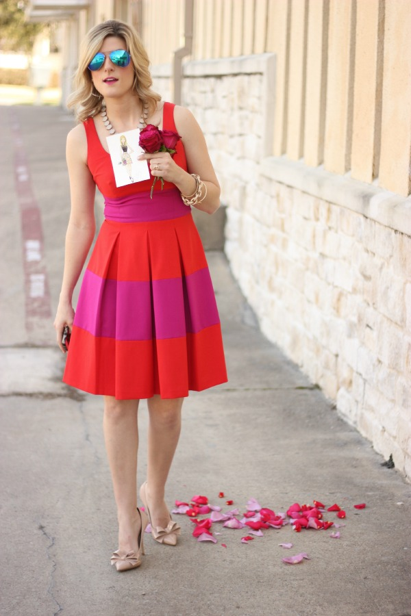 Posh Floral Designs, Red and Purple Dress, Kate Spade Lookalike, Arm Candy, Blue Sunnies, Fashion Illustration