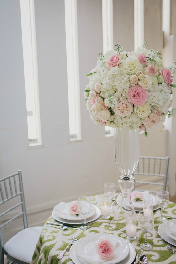 Garden Party | Posh Floral Designs | Large Centerpieces | Pink and Green Weddings | Pink and White Weddings | Bells of Ireland | Garden Roses