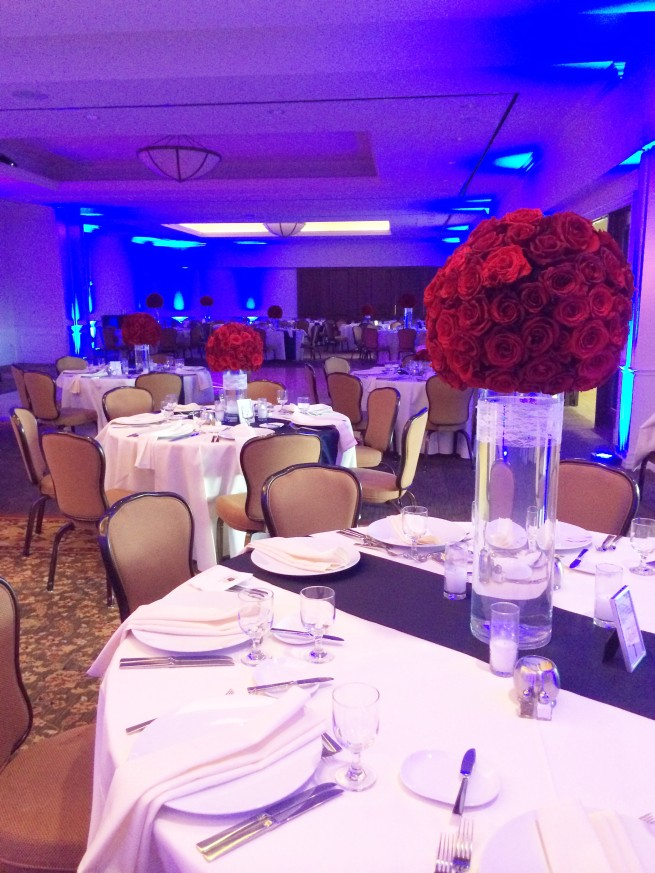 Red Orbs | All Red Rose Centerpeices | Red Weddings