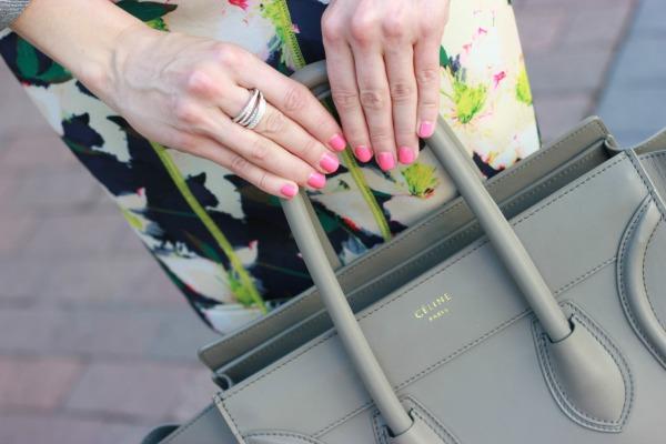 JCrew Dresses | Floral Dresses | Neon Earrings | Monogram Necklace | Celine Bag | Leopard Print Iphone Case|Denim Jacket | Hot Pink Nails | Posh Floral