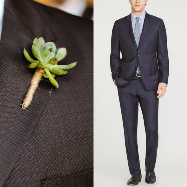 Succulent Boutinere | Bonobos Suits | Suits for Men | Wedding Suits | Posh Floral Designs