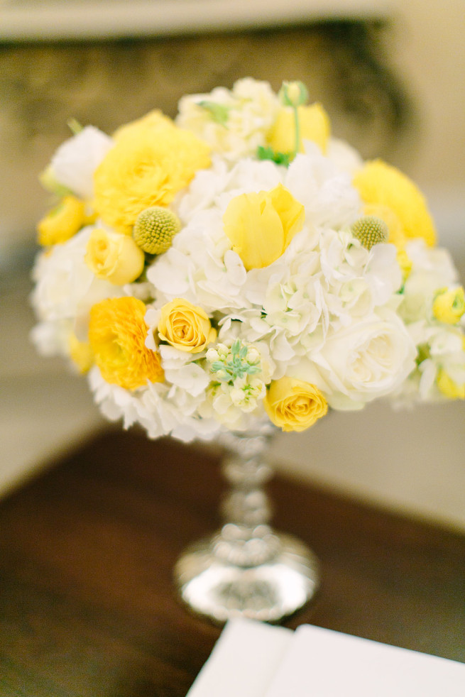 Yellow and White Wedding   White and Yellow Flowers   Mercury Glass Vases   Silver Trees   Yellow Bridesmaids Dresses   Posh Floral Designs