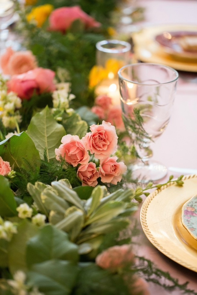 Tea Party Ideas   China Plates   Floral Garland   Posh Floral Designs