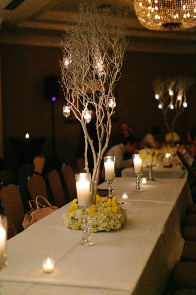 Yellow and White Wedding | White and Yellow Flowers | Mercury Glass Vases | Silver Trees | Yellow Bridesmaids Dresses | Posh Floral Designs
