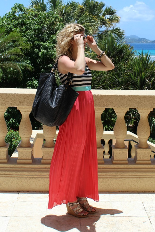 Maxi Dress | Coral Dress | Turquiose Necklace | Best Black Tote | Coral Maxi