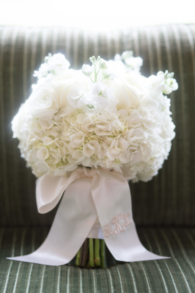 Monogram on a Bridal Bouquet | White Hydrangeas | All white bouquets | Posh Floral Designs