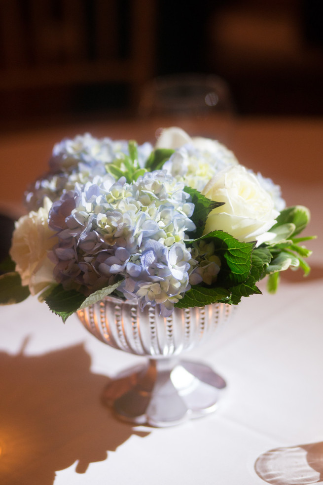 Silver Compote| Blue and White Hydrangeas | Southern Wedding Style | Posh Floral Designs